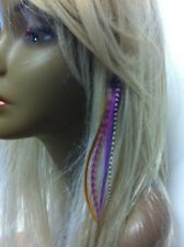 Clip-on 4-6 Purple & Brown Feathers for Hair Extension