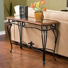 Sofa Table Wood Glass Wrought  Iron Hallway Console Entry Room Furniture New