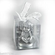 Bougie Angelot argent pour la décoration de table de mariage, de baptême ou Noël