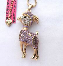 Betsey Johnson shiny purple crystal Cute little goat pendant Necklace,#296L,Z