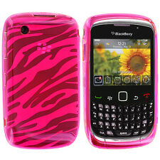 Hot Pink TPU Zebra Skin Case Cover for Blackberry Curve 8520 8530 3G 9300 9330