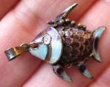 VINTAGE Chinese Sterling Silver Articulated FISH Enamel Charm Pendant