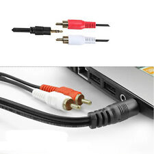 """3.5mm1/8"""" Male Stereo Cute Plug To 2 RCA Stereo Phono Audio Speaker Cable New"""