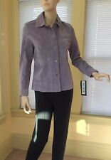 NWT BERNARDO WASHABLE SUEDE JACKET FITTED BLAZER Leather vintage lilac PS new