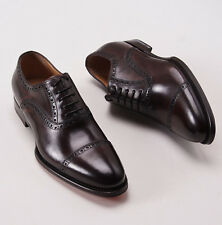 NIB $990 SANTONI FATTE A MANO Brown Calf Captoe Shoes US 6 D Brogue Detail