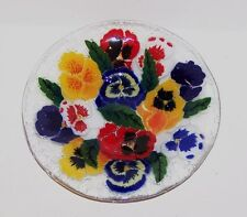 "GORGEOUS SIGNED PEGGY KARR DA FUSED ART GLASS PANSY FLOWERS 8 3/8"" ROUND BOWL"