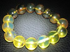Ref.# 665-Dominican Blue-Green Amber Bracelet Beads about 13.5 mm spheres(20.1g)