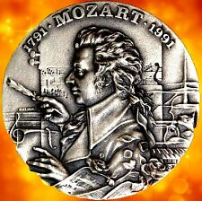 MUSIC GENIUS / MOZART / AUSTRIAN COMPOSER / STERLING SILVER MEDAL / RARE / N 124