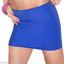 MINI SKIRT SIZE 12-14 BLUE ROYAL STRETCH LYCRA SPANDEX PARTY CLUB TIGHT SEXY S55
