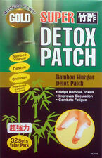 32-pack GOLD Foot Super Chikusaku Bamboo Power Chi Vinegar Detox Toxin Patch New
