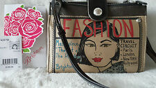 "BRIGHTON:""FASHIONISTA""Black Organizer Shoulder Bag 8.5""W x 7""H x 1""D retail $195"