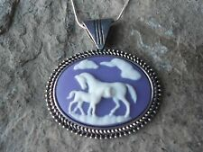 HORSE AND FOAL CAMEO NECKLACE - HORSE LOVERS GIFT - PURPLE - HORSE COLLECTOR