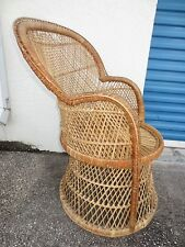 TLC Vtge Peacock Wicker Fan Chair Shabby Chic Cottage Victorian Rattan Coastal