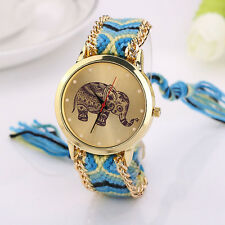 Women fashion elegant Elephant Pattern Weaved Rope Band luxury Sports Watch NICE