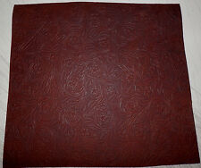 "Dark Brown Western Floral Cowhide Leather Scraps 12.5""x14"" avg 1.3mm thick #5"