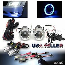 "JDM STYLE 3"" BLUE HALO PROJECTOR FOG LIGHTS DUAL SWITCH+8000K HID KIT FOR NISSAN"