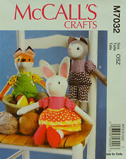 McCall's 7032 Sewing PATTERN for STUFFED ANIMALS Bunny Cat Fox w/ Clothes *NEW*