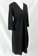 Territory Ahead Womens Black Dress LBD Large Cotton Knit Faux Wrap 3/4 Sleeves