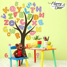 Numbers and Alphabet Tree Nursery Wall Stickers, Kids Vinyl Wall Decals
