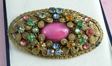 Vintage Art Deco 1920's-1930's large oval Czech glass and brass? brooch