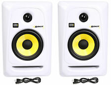 "(2) KRK RP5G3W Rokit White 5"" Inch Active Powered Studio Monitors"