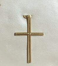 SOLID 18K Yellow Gold Cross Crucifixes Jesus 1.57 in - 2 Grams