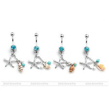 1Pc Chic Crystal Steel Starfish Conch Dangles Navel Belly Button Piercing Ring