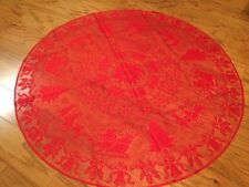 """Heritage Lace Polyester Round Red Christmas Tabletopper 45"""" (740)"""