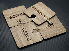 4x Four Personalised Wooden jigsaw coasters customise with your family names
