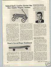 1965 PAPER AD Sincor Skate Board Sidewalk Surfboard The Spoon Curved Wood Wooden