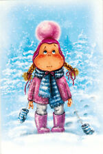 GIRL WATCHES THE SNOW  Modern Russian card