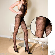 Sheer Halter Top Low Back Spider Web Witch Body Stocking Suit Halloween Costume
