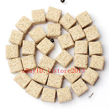 12mm Natural Milk White Color Lava Rock Stone Cube Shape Gems Beads Strand 15""