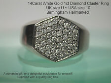 MEN'S MAN, S VINTAGE 14carat BIANCO ORO 1CT DIAMOND RING Marchiato UK U