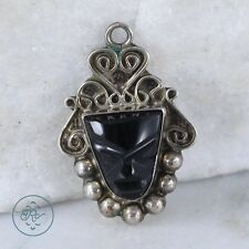 Sterling Silver | Scroll Tribal Carved Black Onyx 1.8g | Pendant KZ4173