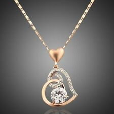 Rose Gold Plated Sparkly Heart White Crystal Rhinestones Chain Necklace Pendant