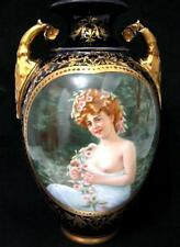 C19th Vienna Porcelain Amphora Urn Painted with a Semi Clad Lady - Beehive mark