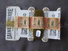 R369 Mercerie 1 bobine carte fil LAINE SAINT PIERRE repriser marron + bande LYON