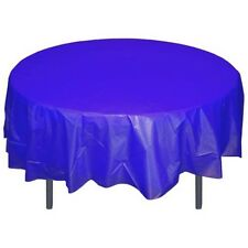 "Solid Color 84"" Round Plastic Tablecloth - Bulk Packs- FREE SHIPPING- 20 colors"
