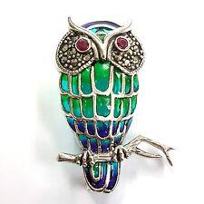 ART NOUVEAU PLIQUE A JOUR ENAMEL MARCASITE OWL RUBY PENDANT BROOCH 925 SILVER .