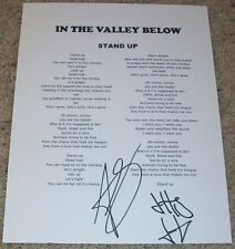 IN THE VALLEY BELOW BAND SIGNED AUTOGRAPH STAND UP LYRICS SHEET w/PROOF