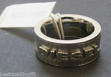 NEW DIESEL SILVER STAINLESS STEEL WELDING RAISED LOGO MENS RING SIZE-10 DX0325