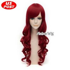 Batman Poison Ivy Long Curly Wine Red Hair Women Cosplay Wig Halloween Party