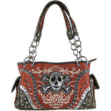 RED SKULL DESIGN LOOK SHOULDER HANDBAG WESTERN BIKER CONCEALED CARRY FASHION