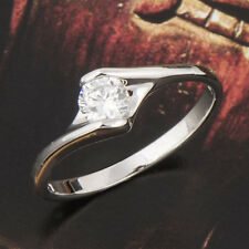 Stylish 18K White Gold Filled Solitaire Zirconia Cubic Stone Wedding Ring 7