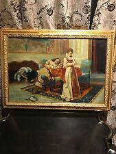 LARGE! ANTIQUE FRENCH OIL PAINTING ON CANVAS GALLANT SCENEca 1700-1800