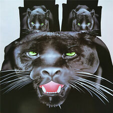3D Ferocious Panther Home Duvet Cover Quilt Cover Pillowcase Bed Set Queen Size