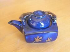 Vintage Lidded Japanese / Chinese Tea Pot Yixing Flamble Glaze Blue  5 1/2""