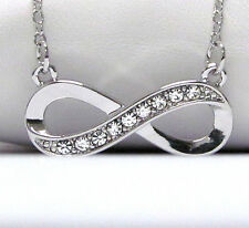NEW CRYSTAL & SILVER INFINITY SIGN SYMBOL PENDANT NECKLACE WHITE GOLD PLATED