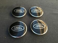 NEW 4PC SET OF 4 LAND RANGE ROVER BLACK & CHROME CENTER WHEEL HUB CAPS LOGO RIMS